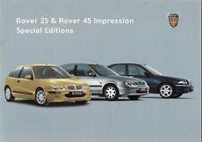 Rover 25 & 45 Impression Limited Edition 2001 UK Market Sales Brochure