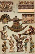 Antique print chromolitho Terracotta Terra cotta klei 1908
