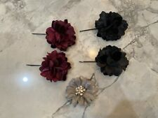 Set of 5 Flower Hair Accessories: 4 Bobby Pins and 1 Clip with gem rhinestones