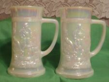 Federal Feg 9 Milk Glass Opaque White German Steins Set of 2  (#292)