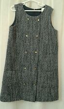 BROOKS BROTHERS GIRLS Blue Tweed Classic Wool Blend Sleeveless Dress sz 10 NWT