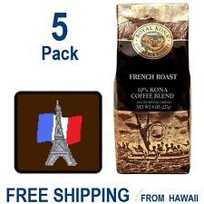 Royal Kona Coffee Hawaii - FRENCH ROAST Dark - 5 Pack 8oz Ground  10% Kona Grind