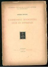DEVOTO ANDREA L'ESPRESSIONE DESIDERATIVA OLSCHKI 1958 AUTOGRAFO MASSUCCO COSTA