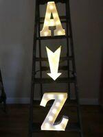 LARGER LED LIGHT CARNIVAL WHITE WEDDING   METAL  33 CM  A -Z  ALPHABET LETTERS