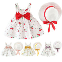 Toddler Baby Kid Girl Dress Sleeveless Cherry Dot Princess Dress Bow Hat Outfits