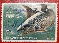 1983 Wisconsin Great Lakes Trout & Salmon Stamp. State Revenue Tax. Used. s240a