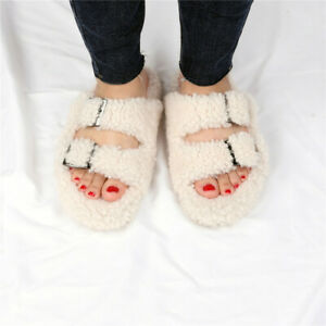 Womens Winter Real Curly Fur Lamb Wool Sandals Shearling Slippers home Slides
