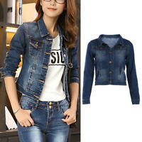 Autumn Ladies Teens Casual Long Sleeve Jean Coat Slim Outwear Denim Short Jacket