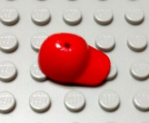 New LEGO Red Minifigure Curved Bill Hat Accessory Piece