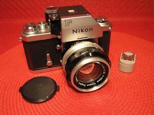 STUNNING VINTAGE NIKON F 35MM CAMERA SLR W/ 50MM NIKKOR-S 1:1.4 LENS - NICE !