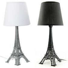 Eiffel Tower Bedside Table Lamp Black/White Shade, H52cm / 42.5cm / 33cm UK Plug