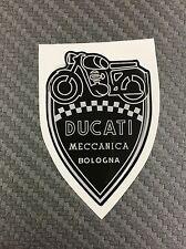 1 Stickers Scudetto DUCATI Meccanica Vintage Black & White 3D resinato 100 mm