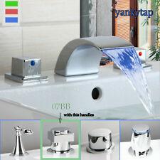 Water Powered Led 3 Pcs Bath Tub Waterfall Spout Basin Sink Mixer Faucet Taps
