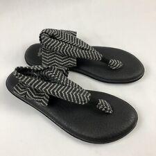 Sanuk T Strap Womens 8 Black Yoga Sling Back Sandals