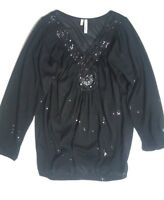 Studio Y Maurices Womens XS Embellished Top Shirt Black Dressy