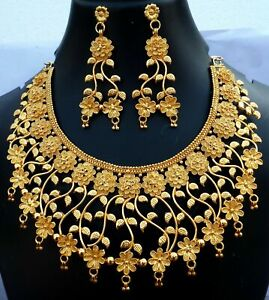 South Indian 22k Gold Plated Wide Flower Bridal Necklace Earrings Wedding Set ,.