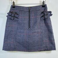 TOPSHOP high waist check plaid wool blend pencil mini skirt size 8 euro 36