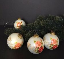 Vintage Christmas Glass Ornaments, Lot of 4; Holiday time; German company