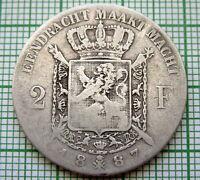 BELGIUM LEOPOLD II 1887 2 FRANCS, DUTCH TEXT, SILVER