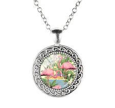 Halskette und  Anchänger aus Acrylglas. Rosa Flamingos.