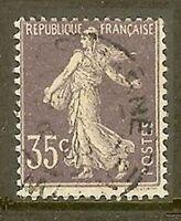 "FRANCE TIMBRE STAMP N°136 "" SEMEUSE FOND PLEIN SANS SOL, 35 C "" OBLITERE TB"