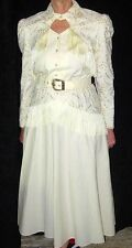 AMAZING & STUNNING 1970's WHITE COMPLETE COWGIRL OUTFIT WITH FRINGE - SIZE 9  10
