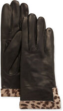 Portolano Leather Calf Hair Glove, Black/Ocelot (size 8)