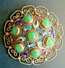 VTG Brooch Pin Chinese Gold Gilt Silver Filigree Enamel Floral Jade Color $200