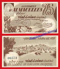 Billete Local  ALMACELLES 25 Centimos 1937 SC / SPAIN CIVIL WAR - UNC