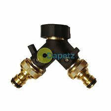 2 Way Double Tap Adaptor With Detachable Brass Hose Connectors Gardening