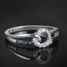 0.10 CT Women's Blue DIAMOND Heart Bridal Promise RING 10k White Gold Size 5-11