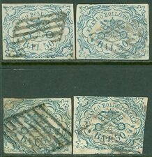 ITALY ROMAN STATES : 1852. Sassone #10. 4 stamps. Very nice appearing Cat €10000