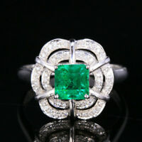 1.54CTW Natural Emerald VS2 Diamond Wedding Proposal Ring Solid 14K White Gold