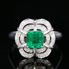 6*6MM Emerald Cut 1.42CW Natural Emerald Diamond Engagement Ring Solid 14K Gold