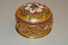 Enameled Swarovski Rose Flowers Pink Gold Bejeweled trinket box Jeweled Dept 56?
