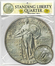 "STANDING LIBERTY QUARTER 72 Piece Round Jigsaw Coin Puzzle & 3"" Sticker Ages 5+"