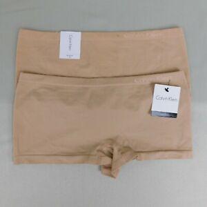 LOT 2 Pair Calvin Klein QD3546 Seamless Boyshort Panties - Nude, Medium #4589