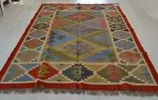 Large Kilim Rug Multicoloured Geometric Wool Jute Indian 180x270cm 6x9' Handmade