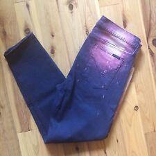 Hudson Nico Super Skinny Hemmed Blue Cosmo Galaxy Splatter Jeans USA 32 x 25.5