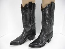 AMMONS HAND MADE BLACK LEATHER LIZARD UNDERLAY COWBOY WESTERN BOOTS WOMEN'S 6