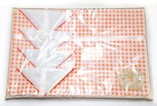 Vintage Luxury Lady Christina Place Mat Set Orange Plaid 4 Vinyl Mats  4 Napkins