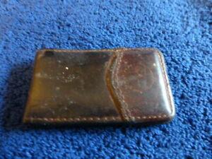 Dark Brown Moroccan Leather Money Clip Magnetic Closure