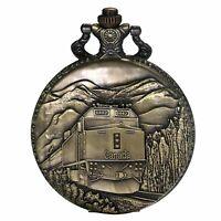 Retro Antique TrainPattern Analog Quartz Bronze Pocket Watch Necklace Pendant