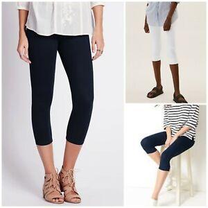 NEW Ladies Ex M&S Cotton Rich Cropped Leggings Trousers Navy / Black / White