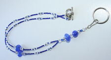 Hand Crafted Beaded Lanyard Blue and White Name Badg ID Holder Glass Beads