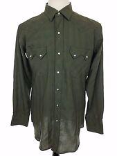 Vtg 50s 60s Western Rodeo Pearl Snap Shirt, Green Sawtooth Pockets, Mens Medium