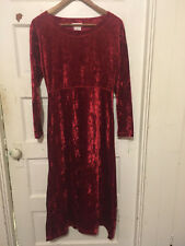 *VINTAGE* 1990s JONES NEW YORK Red Crushed Velvet Goth Stretch Maxi Dress - M
