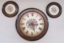 Vintage 3pc Sears Roebuck and Co. Wall Clock and Decor Wood Porcelain Floral USA