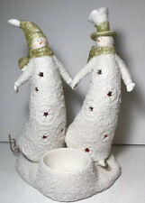 Yankee Candle Ice Skating Snowman Couple Lighted Color Changing Candle Holder