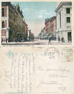 RICHMOND IN MAIN STREET 1921 ANTIQUE POSTCARD